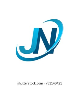 initial letter JN logotype company name colored blue swoosh design concept. vector logo for business and company identity.