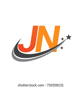 initial letter JN logotype company name colored orange and grey swoosh star design. vector logo for business and company identity.