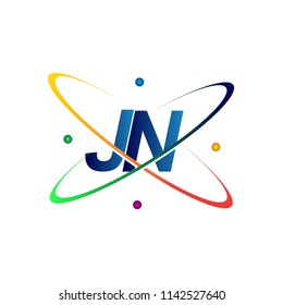 initial letter JN logotype science icon colored blue, red, green and yellow swoosh design. vector logo for business and company identity.