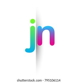 Initial Letter JN Lowercase Logo green, pink and Blue, Modern and Simple Logo Design.
