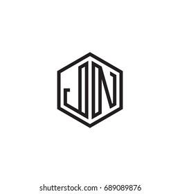 Initial letter JN, minimalist line art monogram hexagon logo, black color