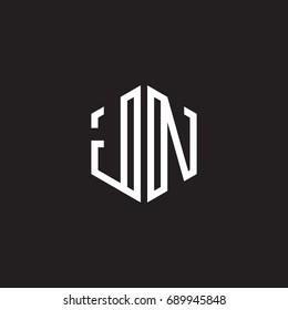 Initial letter JN, minimalist line art monogram hexagon shape logo, white color on black background