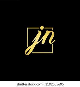 Initial letter JN NJ minimalist art monogram shape logo, gold color on black background