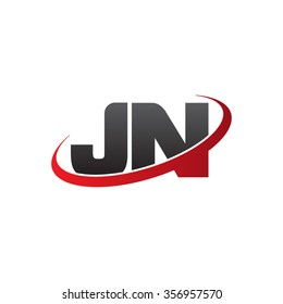 initial letter JN swoosh ring company logo red black