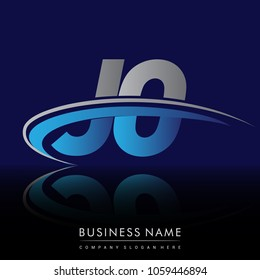 initial letter JO logotype company name colored blue and grey swoosh design. vector logo for business and company identity.