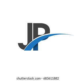 initial letter JP logotype company name colored blue and grey swoosh design. vector logo for business and company identity.