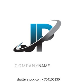 initial letter JP logotype company name colored blue and grey swoosh design. logo design for business and company identity.
