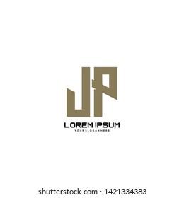 Initial letter JP minimalist art logo vector
