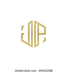 Initial letter JP, minimalist line art hexagon shape logo, gold color