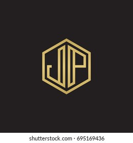 Initial letter JP, minimalist line art hexagon logo, gold color on black background