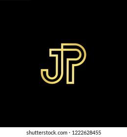 Initial letter JP PJ minimalist art logo, gold color on black background.