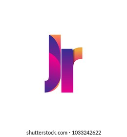 Initial Letter JR Logo Lowercase, magenta and orange, Modern and Simple Logo Design.