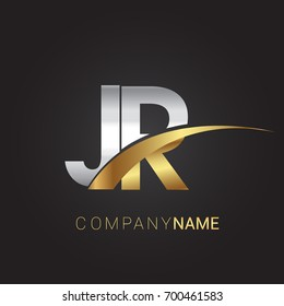 initial letter JR logotype company name colored gold and silver swoosh design. isolated on black background.