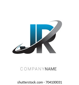 initial letter JR logotype company name colored blue and grey swoosh design. logo design for business and company identity.