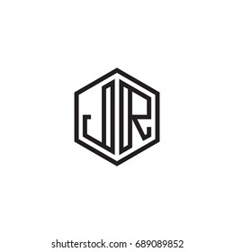 Initial letter JR, minimalist line art monogram hexagon logo, black color