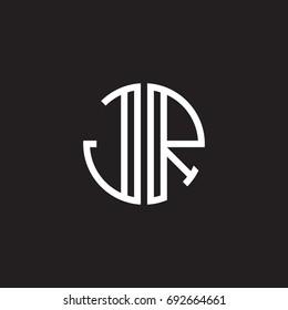 Initial letter JR, minimalist line art monogram circle shape logo, white color on black background