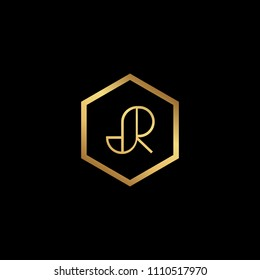 Initial Letter JR RJ Minimalist Art Hexagon Shape Logo Gold Color On Black Background