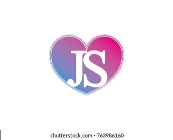 the initial letter JS in the heart symbol as a logo, sign and decoration