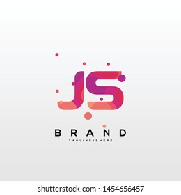 Initial letter JS logo with colorful background, letter combination logo design for creative industry, web, business and company. - Vector