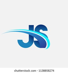 initial letter JS logotype company name colored blue and swoosh design. vector logo for business and company identity.