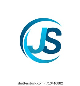 initial letter JS logotype company name blue circle and swoosh design. vector logo for business and company identity.