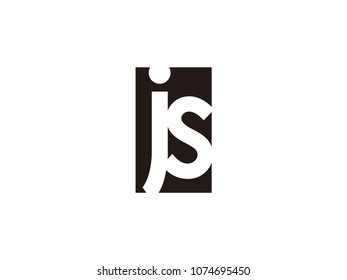 Initial letter js lowercase logo black and white