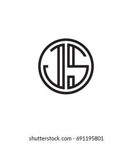 Initial letter JS, minimalist line art monogram circle logo, black color