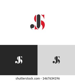 Initial Letter js uppercase modern logo design template elements. red letter Isolated on black white grey background. Suitable for business, consulting group company.