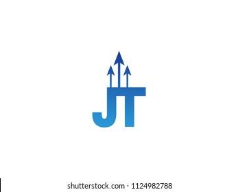 Initial Letter JT Arrow Chart Finance Business