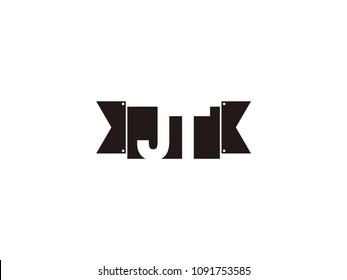 Initial letter jt black ribbon logo design