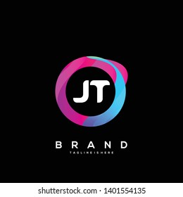 Initial letter JT logo with colorful circle background, letter combination logo design for creative industry, web, business and company. - Vector
