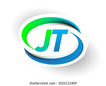 initial letter JT logotype company name colored blue and green swoosh design, modern logo concept. vector logo for business and company identity.