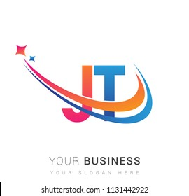 initial letter JT logotype company name colored orange, red and blue swoosh star design. vector logo for business and company identity.