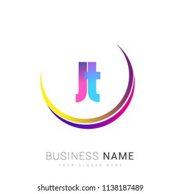 initial letter JT logotype company name, coloreful and swoosh design. vector logo for business and company identity.