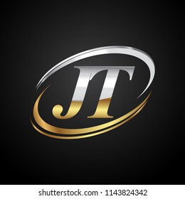 initial letter JT logotype company name colored gold and silver swoosh design. isolated on black background.
