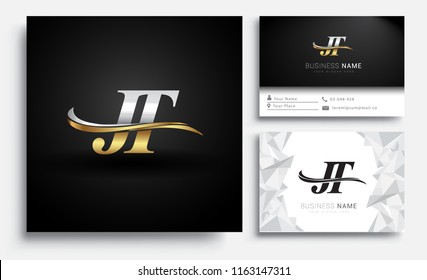 initial letter JT logotype company name colored gold and silver swoosh design. Vector sets for business identity on white background.