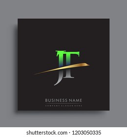 initial letter JT logotype company name colored green and gold swoosh design. vector logo for business and company