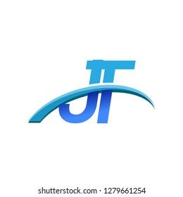 initial letter JT logotype company name colored blue and swoosh design. vector logo for business and company identity.