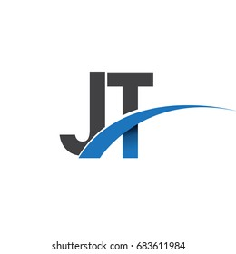 initial letter JT logotype company name colored blue and grey swoosh design. vector logo for business and company identity.