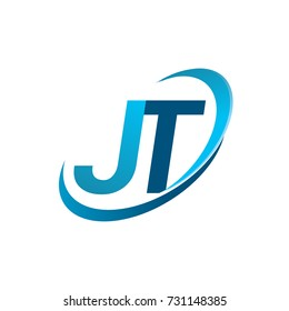 initial letter JT logotype company name colored blue swoosh design concept. vector logo for business and company identity.