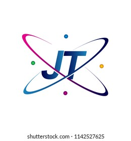initial letter JT logotype science icon colored blue, red, green and yellow swoosh design. vector logo for business and company identity.