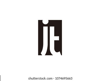 Initial letter jt lowercase logo black and white