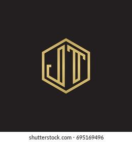 Initial letter JT, minimalist line art hexagon logo, gold color on black background