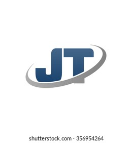 initial letter JT swoosh ring company logo blue gray