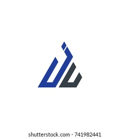 Initial Letter JU JV Linked Triangle Design Logo