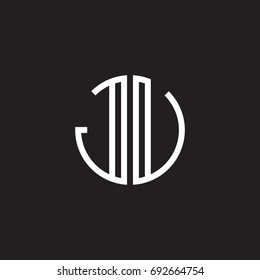 Initial letter JU, JV, minimalist line art monogram circle shape logo, white color on black background