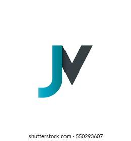 Initial Letter JV JN Rounded Lowercase Logo