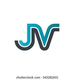 Initial Letter JV Linked Design Logo Company
