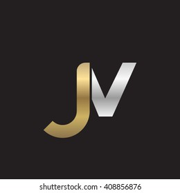 initial letter jv linked lowercase logo gold silver black background