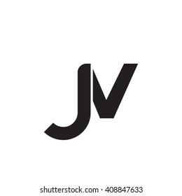 initial letter jv linked round lowercase monogram logo black